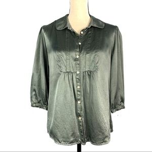 Sundance 100% Silk Green Button Down Shirt EUC